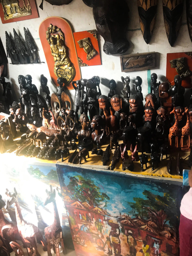 Wood craft works at Lekki art market